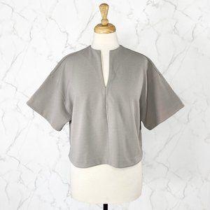 Oak + Fort Boxy V Neck Oversized Short Sleeve Top
